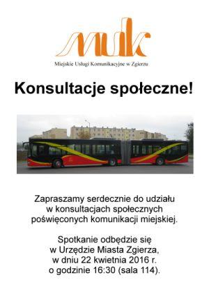Plakat informacyjny - konsultacje społeczne w sprawie komunikacji miejskiej - 22.04.2016, godz. 16:30, UMZ